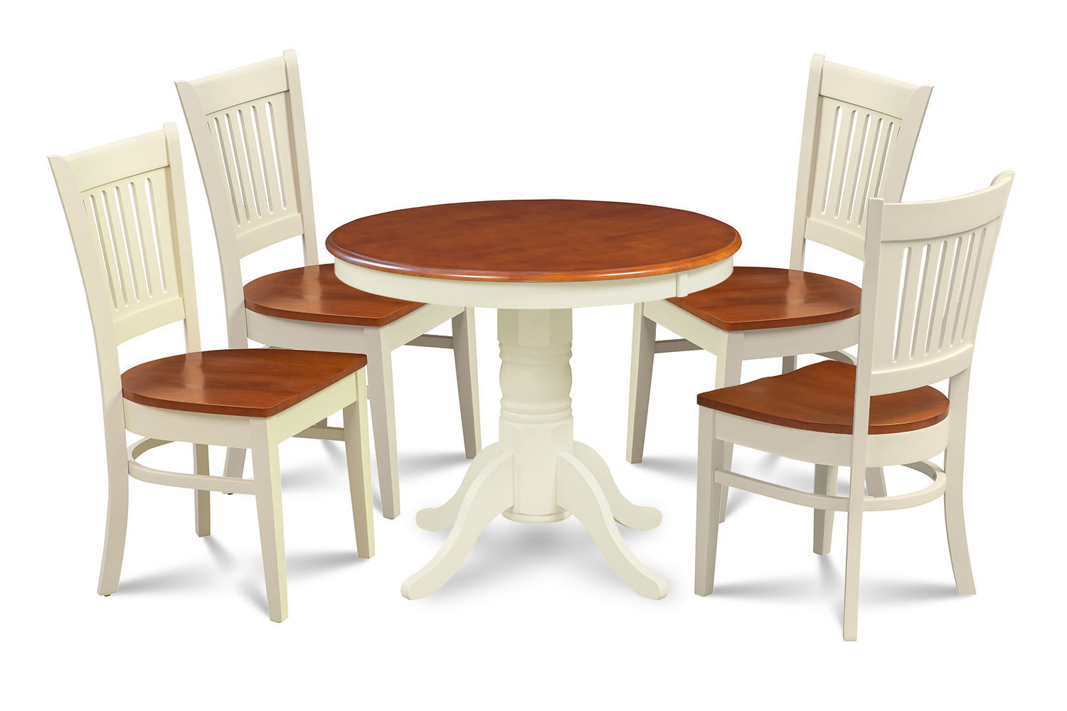 "36"" BROOKLINE DINETTE DINING ROOM TABLE SET  WITH WOODEN SEATS"