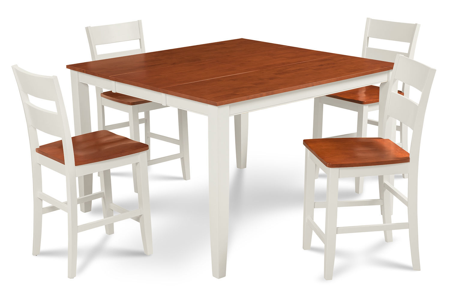 "54"" SQUARE COUNTER HEIGHT TABLE DINING ROOM SET W. WOODEN SEATS IN WHITE CHERRY"