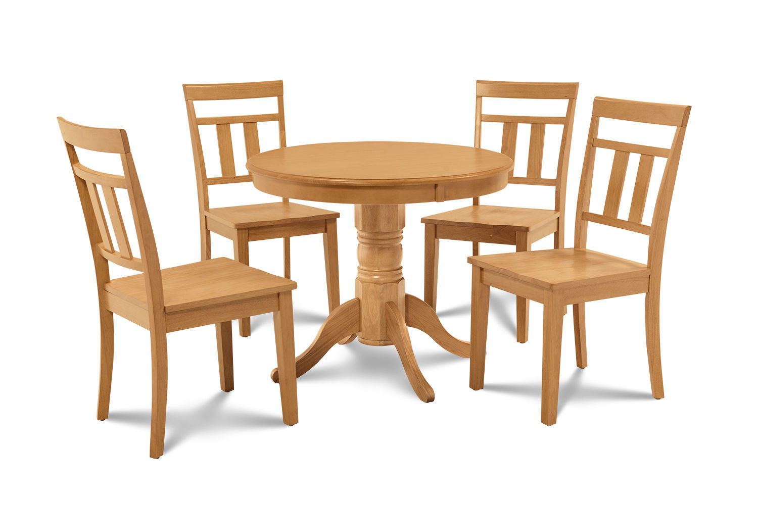"36"" BROOKLINE DINETTE DINING TABLE SET WOODEN SEAT CHAIRS OAK FINISH"