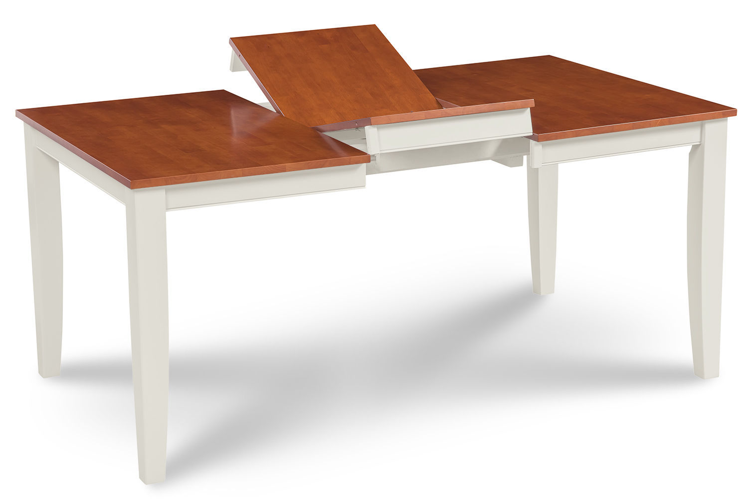 RECTANGULAR DINING ROOM TABLE SET WITH WOOD SEAT CHAIRS IN WHITE & CHERRY