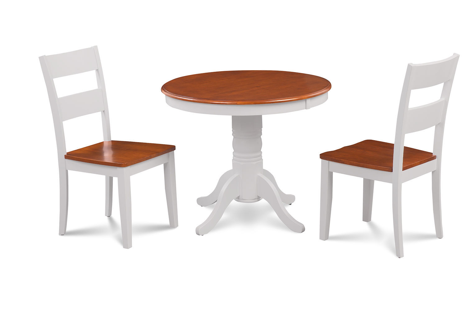 """36"""" BROOKLINE DINETTE DINING ROOM ROUND TABLE SET  IN WHITE CHERRY FINISH"""