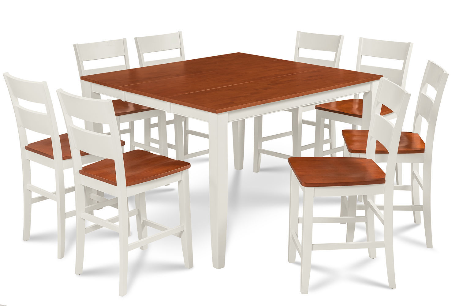 """54"""" SQUARE COUNTER HEIGHT TABLE DINING ROOM SET W. 18"""" BUTTERFLY LEAF"""