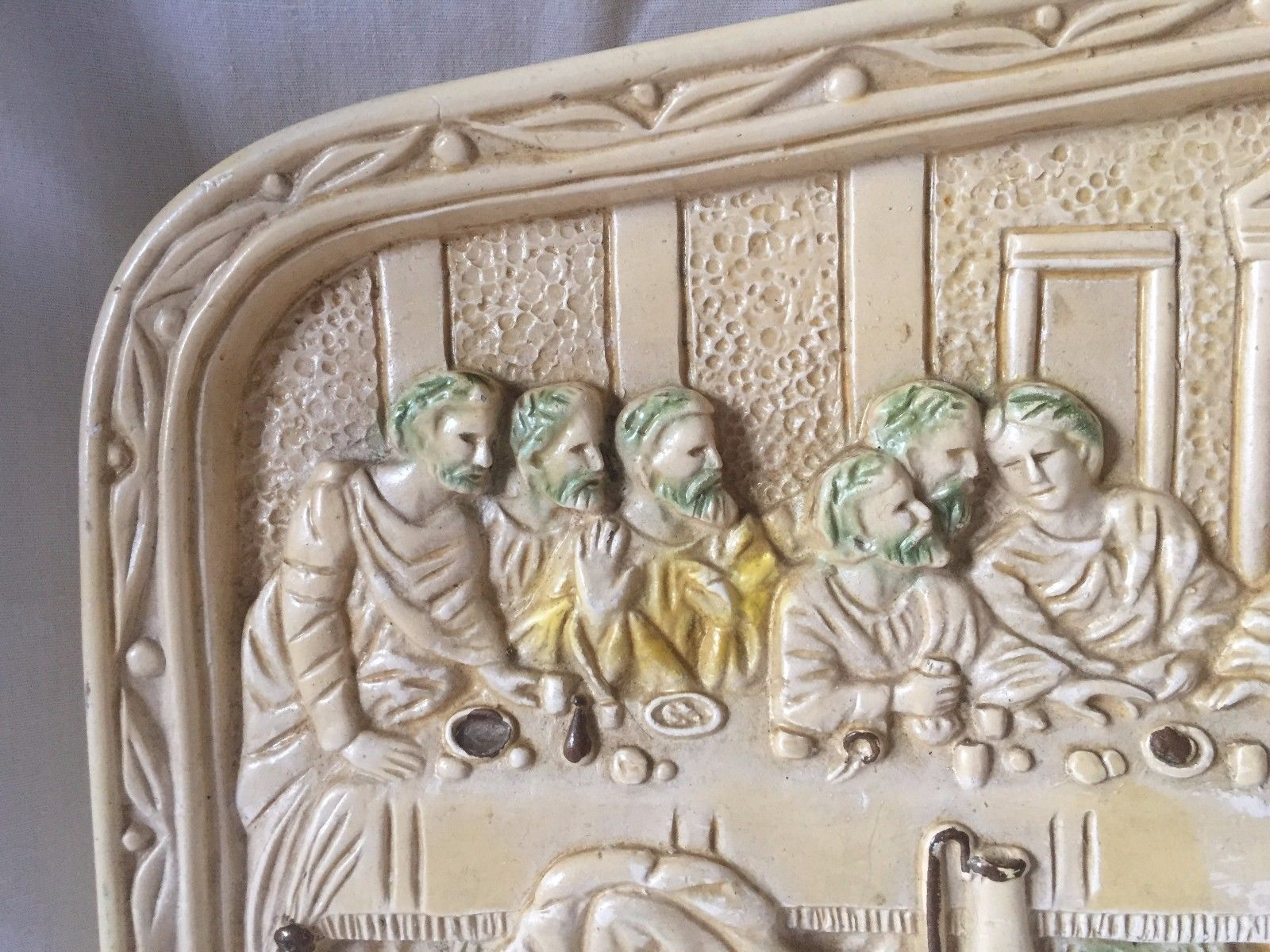 Vtg Ceramic 3D Art Jesus Christian The Last Supper