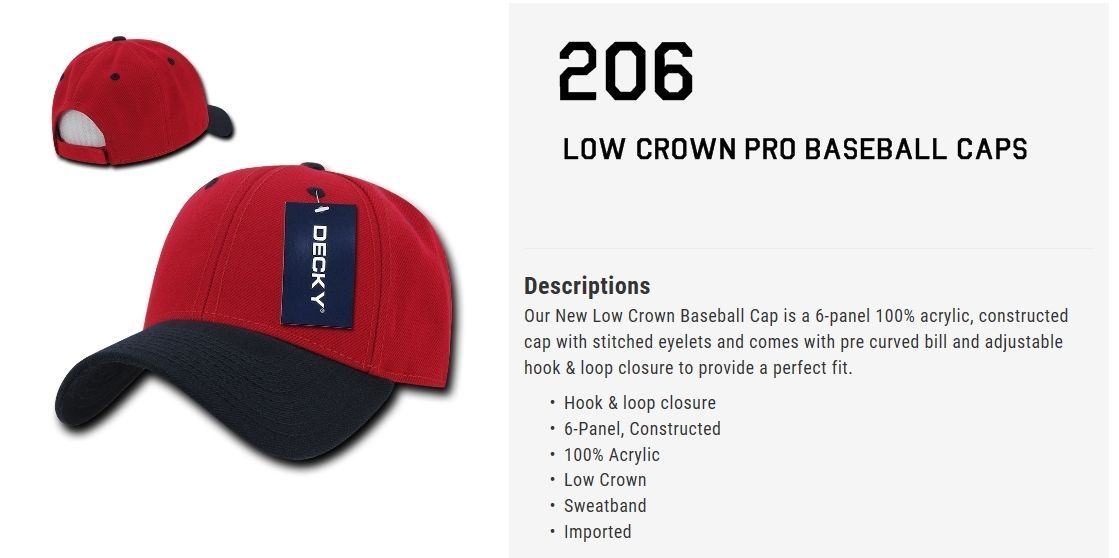 CUSTOM EMBROIDERY Personalized Customized Decky Low Crown Adjustable Cap 206