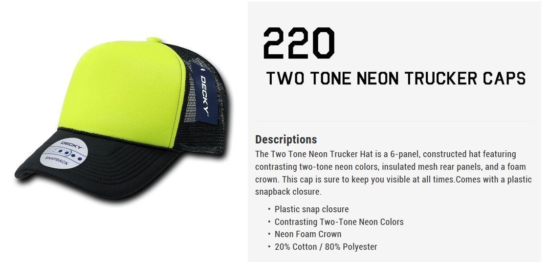 CUSTOM EMBROIDERY Personalized Customized Decky Neon Trucker Snapback Cap 220