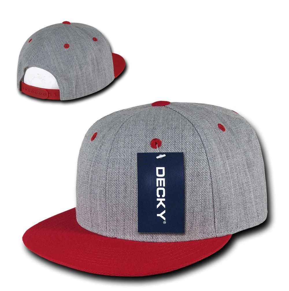 DECKY 6 Panel Flat Bill  Heather Grey Snapback  Hat Cap 1092