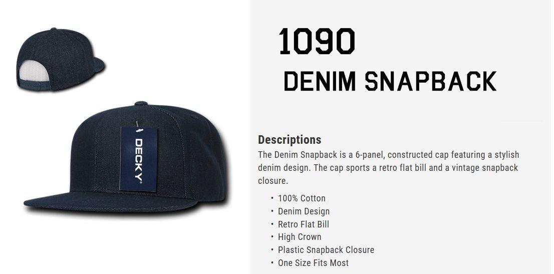 CUSTOM EMBROIDERY Personalized Customized Decky Denim Snapback Cap Hat 1090
