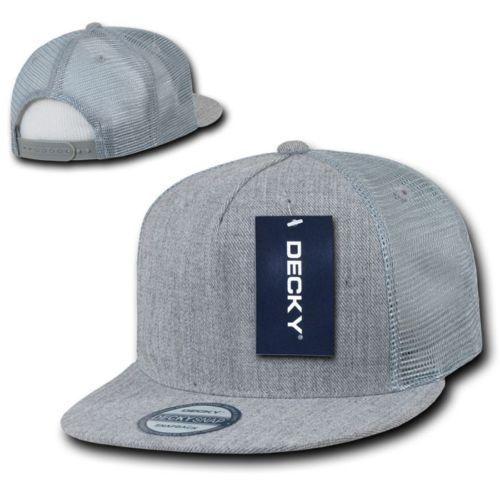 DECKY  5 Panel Flat Bill Trucker Constructed Rear Mesh  Snapback  Hat Cap 1063