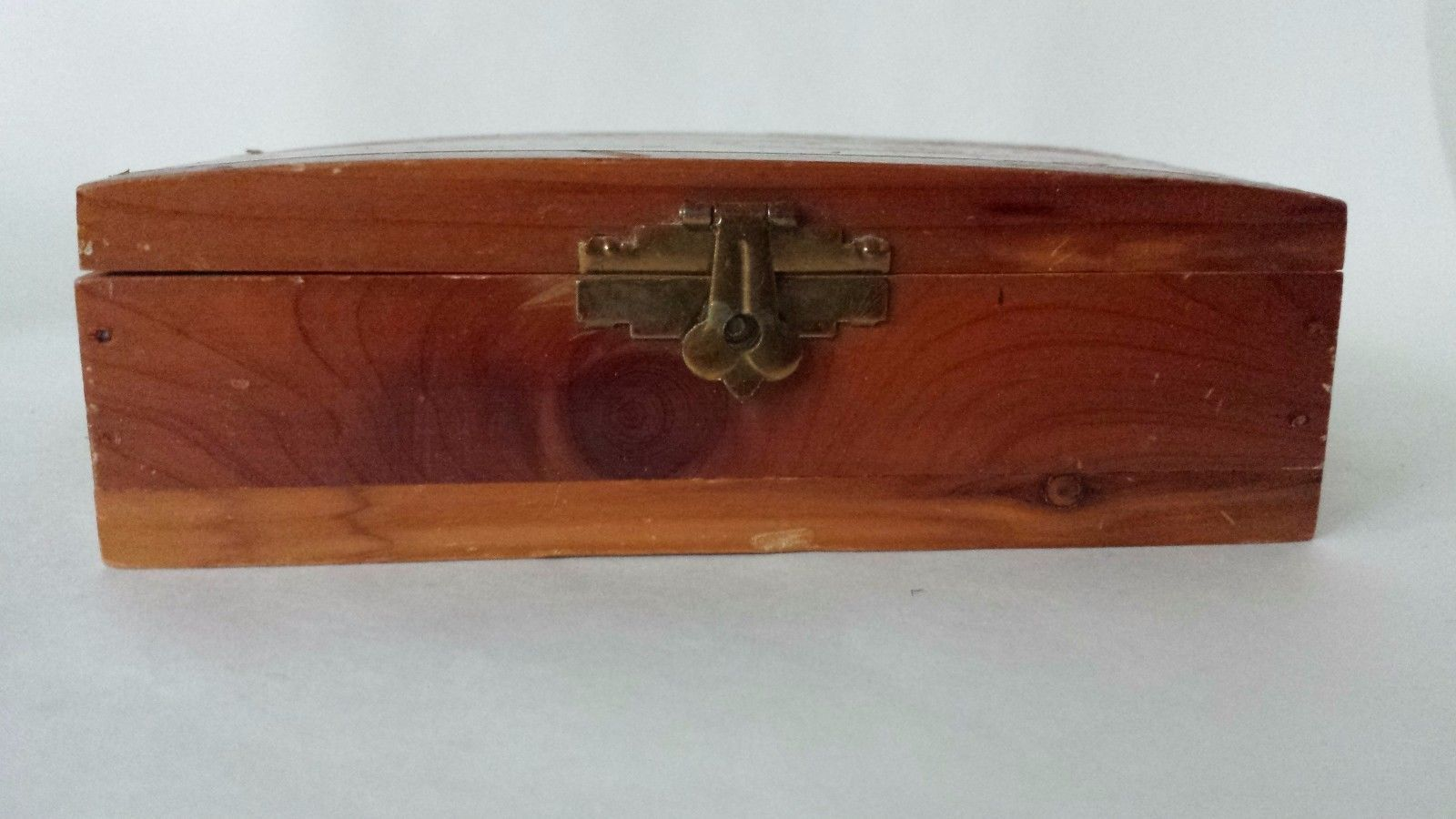 """Small Wood Brass Lacquered Box 5 1/2"""""""