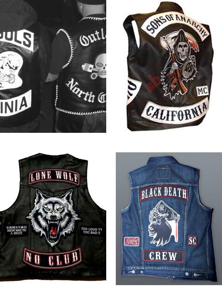 "Custom Embroidered Top & Bottom Rocker Biker Sew on Patch 9"" (B-1)"