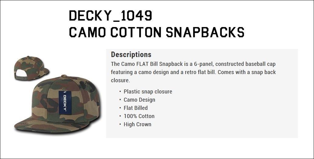DECKY Plain Blank Camouflage Camo Cotton Flat Bill Snapback Baseball Cap 1049