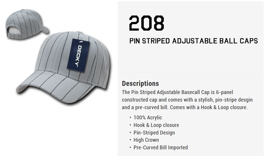 CUSTOM EMBROIDERY Personalized Customized Decky Pin Striped Adjustable Cap 208