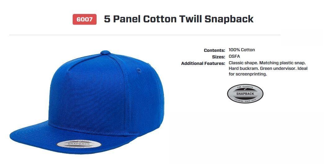Yupoong Flexfit 5 Panel Cotton Twill Snapback 6007