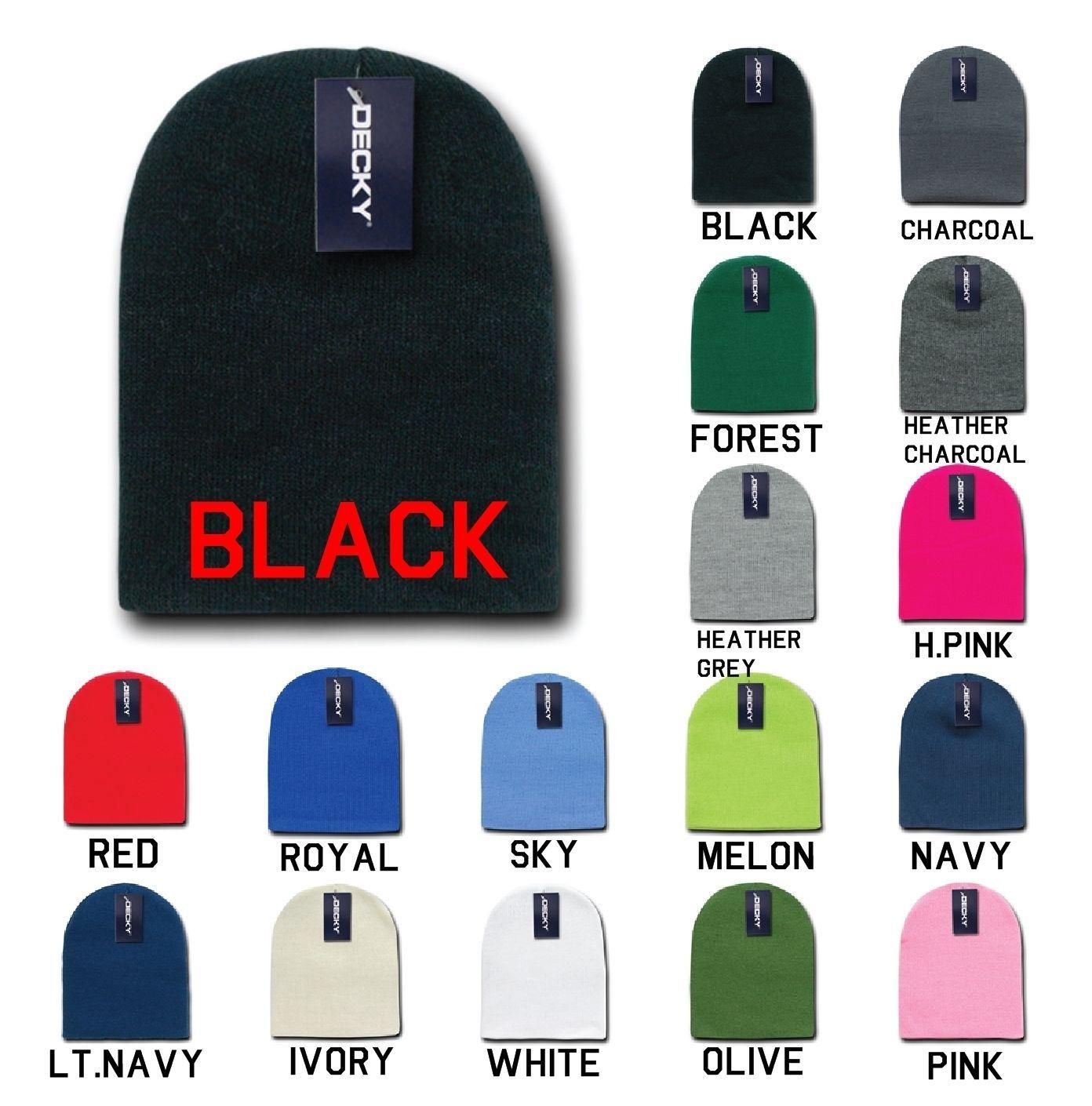 DECKY Plain Blank Short Uncuff Beanies Knit Ski Snowboard Winter Caps KCS