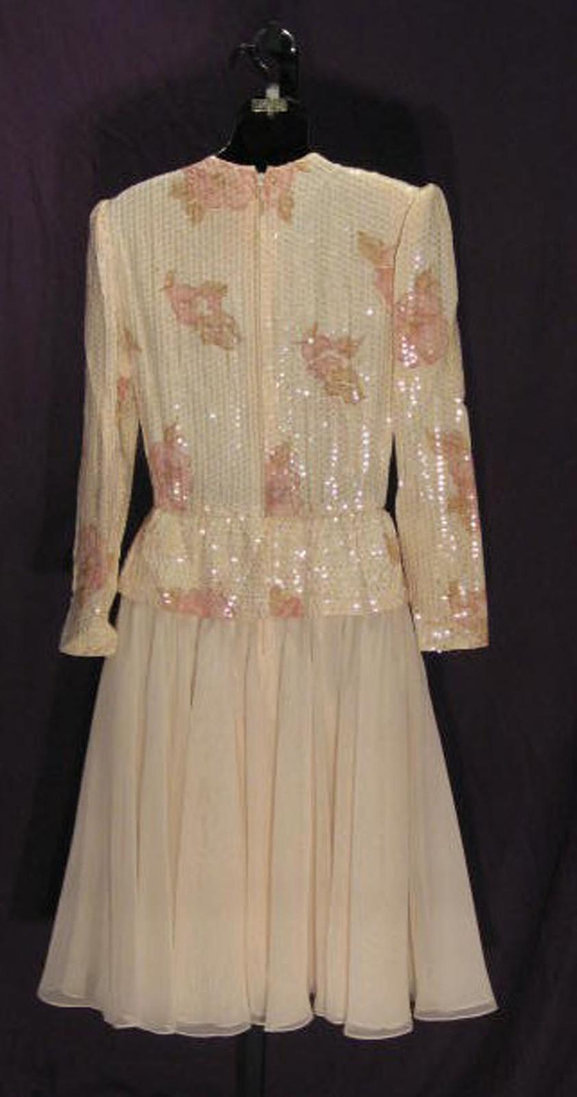 VTG Estevez Cotton Blend Pink Mock Wrap Sequin Organza Evening Dress Size 10