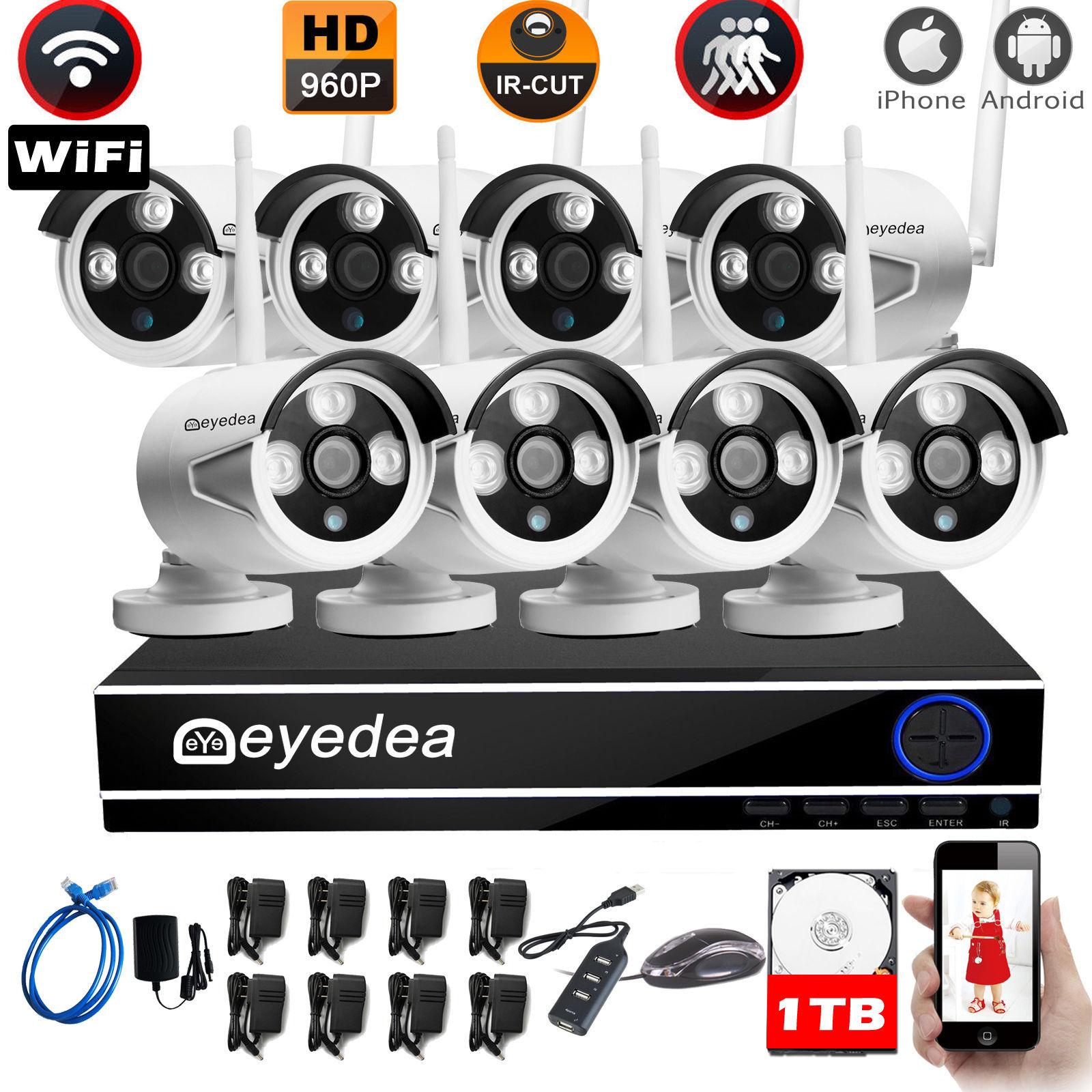 8CH 960P WiFi 5500TVL DVR NVR Cafe Burglar Alarm CCTV Security Camera System 1TB