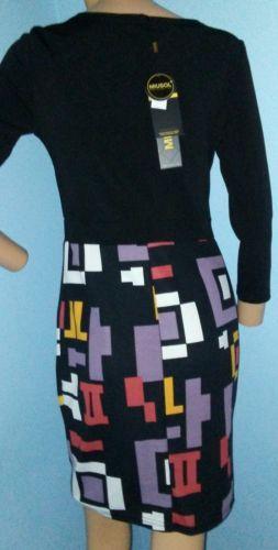 Miusol Sexy Bodycon Geometric Long Sleeve Black Knee-Length Dress Sz S NWT