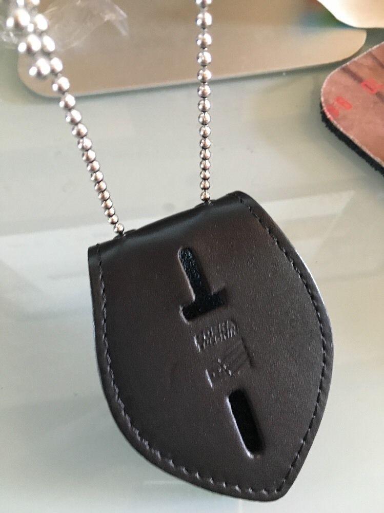 Universal Oval Police Badge Holder Leather Clip On Belt Neck Hanger w/Chain