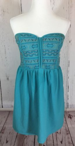 Staring At Stars Urban Outfitters Strapless Turquoise Aztec Print Dress Large