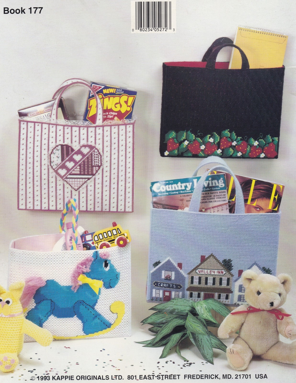 Totes, Kappie Plastic Canvas Pattern Book 177 Village Shop  Rocking Horse & More