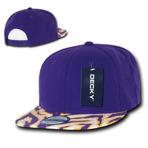 DECKY 6 panel Ziger 2 Tone Animal Zebra Print Flat Bill Snapback Cap Hat 1062
