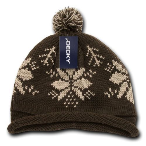 DECKY Solid Roll Up Beanie W/ Pom Pom Snowflake Knitted Ski Beanies 611A 611B