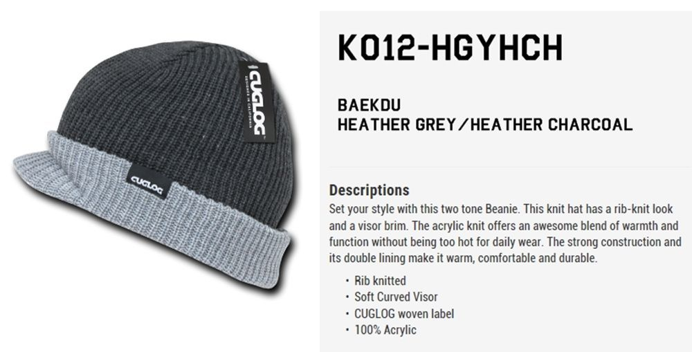 Cuglog by Decky Winter Two Tone Beanie Knit Soft Visor Baekdu Cap Hat K012