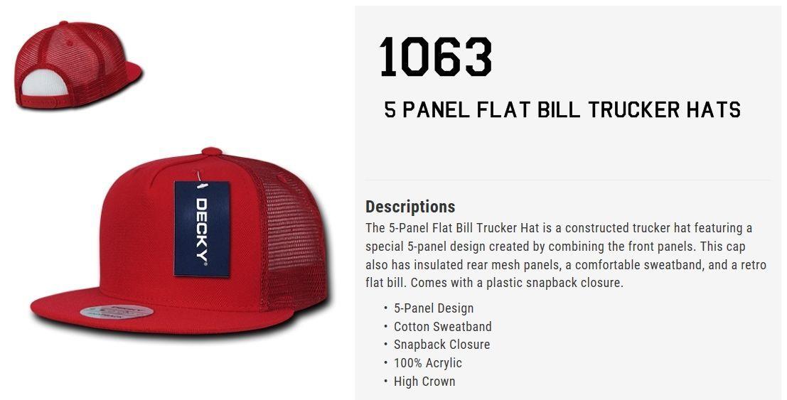 CUSTOM EMBROIDERY Personalized Customized Decky 5 Panel Trucker Snapback 1063