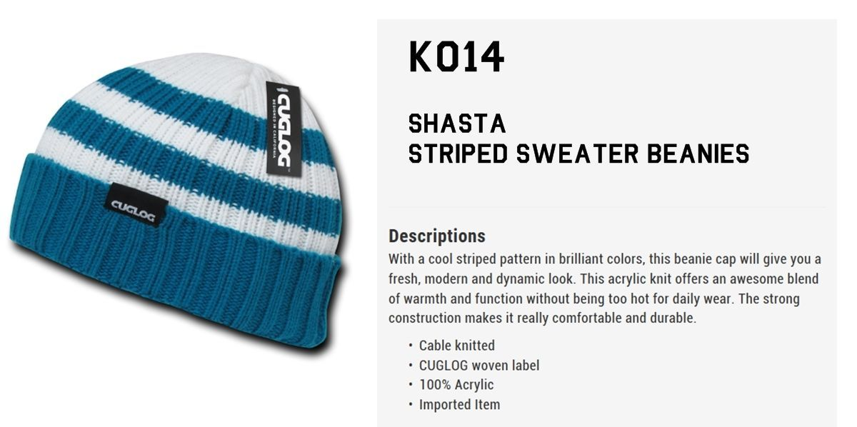 Cuglog by Decky Shasta Striped Sweater Cuffed Cable Knit Beanie Skull Cap k014