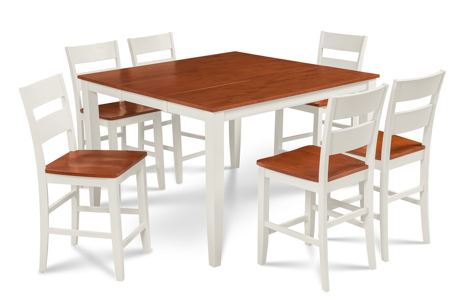 "54"" SQUARE COUNTER HEIGHT TABLE DINING ROOM SET W. WOODEN SEATS WHITE CHERRY"