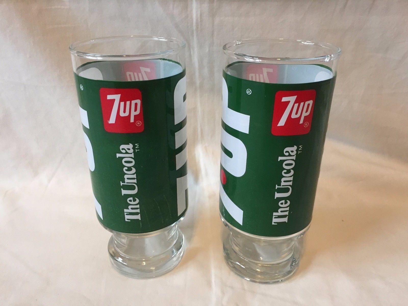 Vtg Glass 7 Up Wet Wild Glasses Set of 2 Pedastal Base