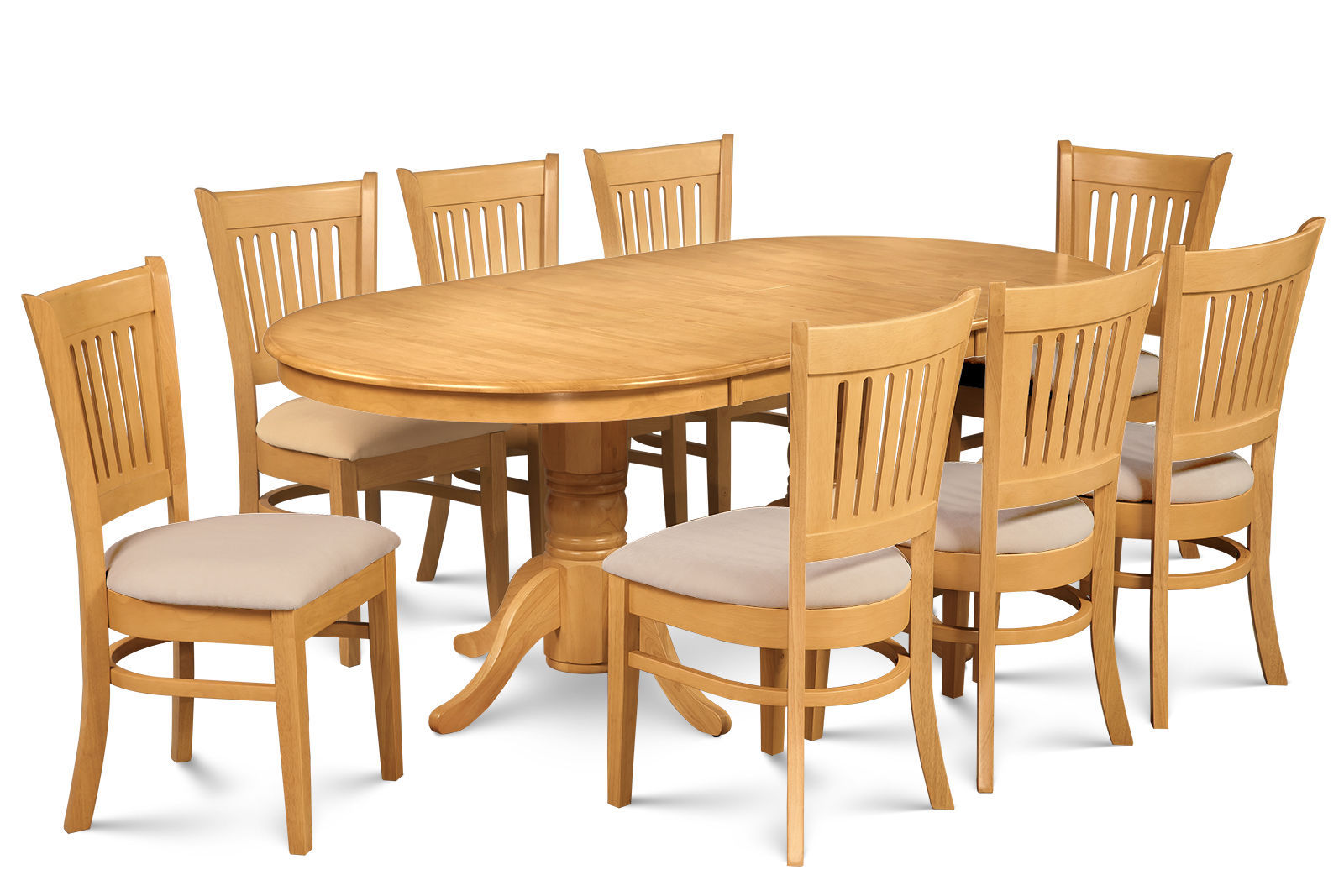 "SOMERVILLE DINETTE DINING ROOM TABLE SET 42""X78"" W. SOFT-PADPED SEATS IN OAK"
