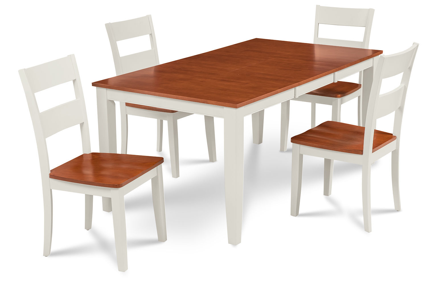 "RECTANGULAR DINING ROOM TABLE SET W/. 18"" LEAF WOOD SEAT CHAIRS, WHITE & CHERRY"
