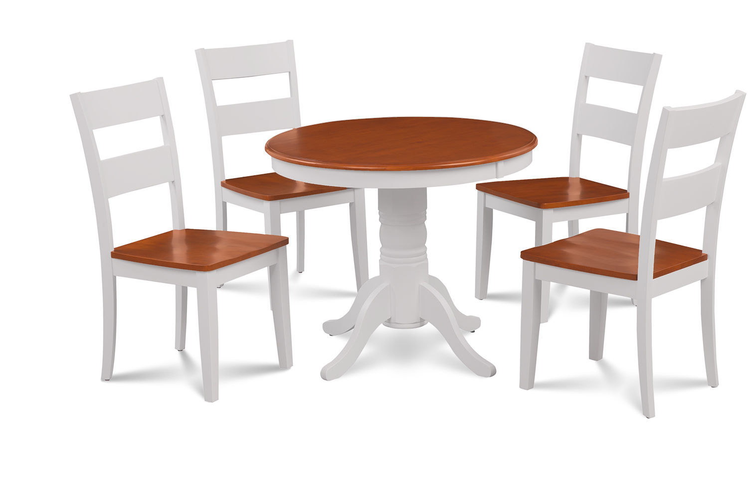 """36"""" BROOKLINE DINETTE DINING ROOM ROUND TABLE SET  IN WHITE & CHERRY FINISH"""
