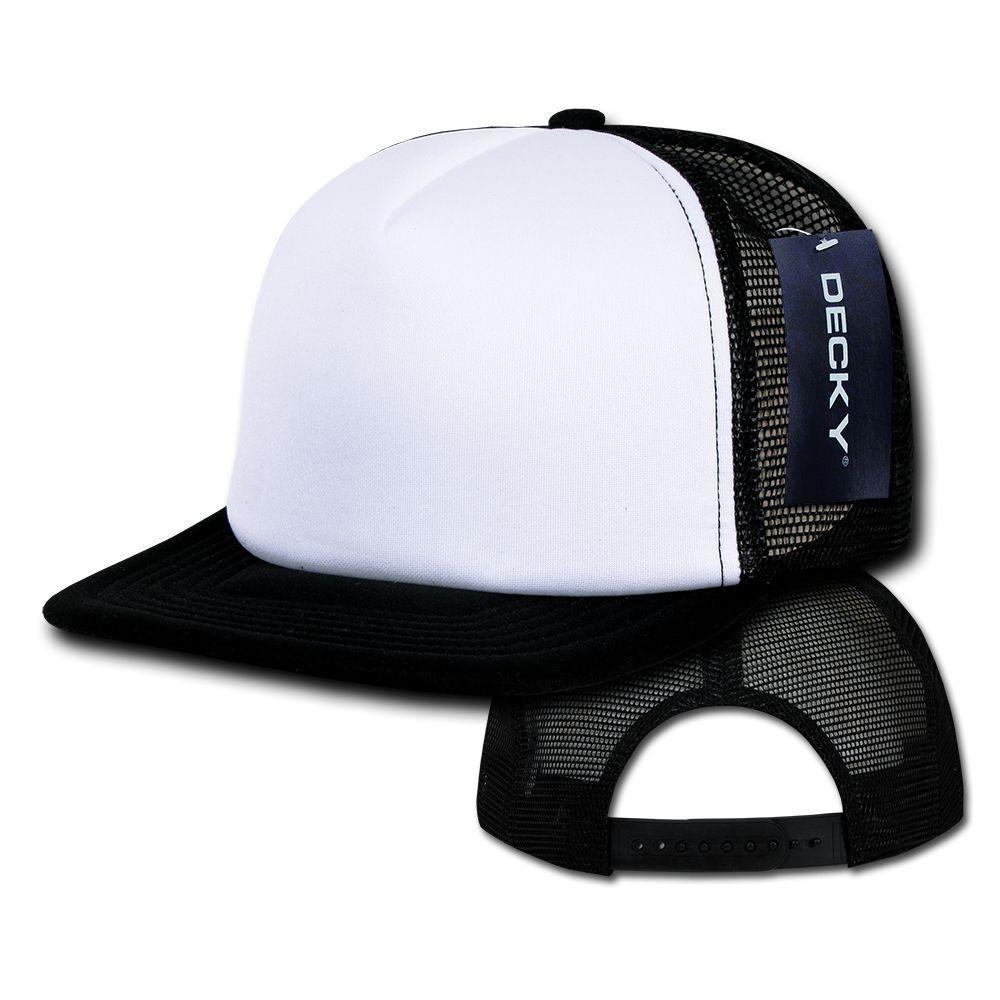 DECKY Heavy Duty Flat Bill Foam Two Tone Mesh Trucker Snapback Cap Hat 1080