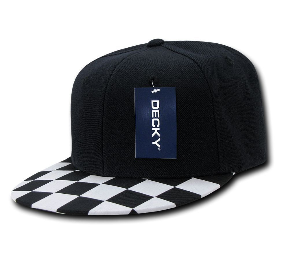 DECKY 6-Panel Checker Flat Bill High Crown Snapback Cap Caps Hat 1095