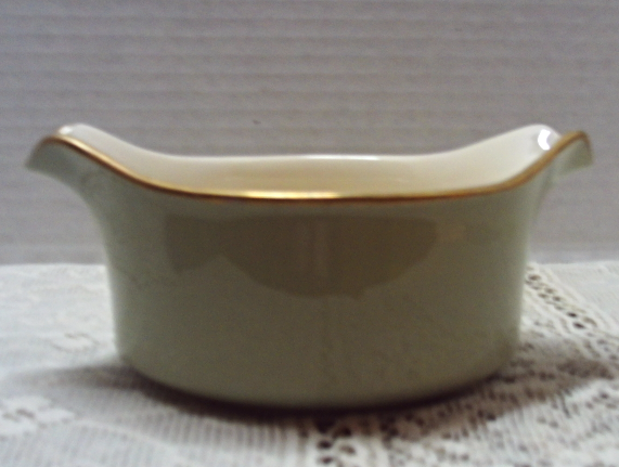 Vintage Pearlescent Green Gold Tab Handle Bowl Serving Dish Sauce/Gravy Dish