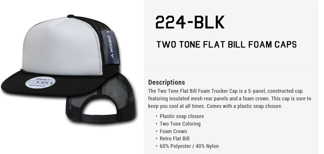 DECKY TWO TONE FLAT BILL RETRO FOAM MESH TRUCKER HATS HAT CAPS CAP SNAPBACK 224