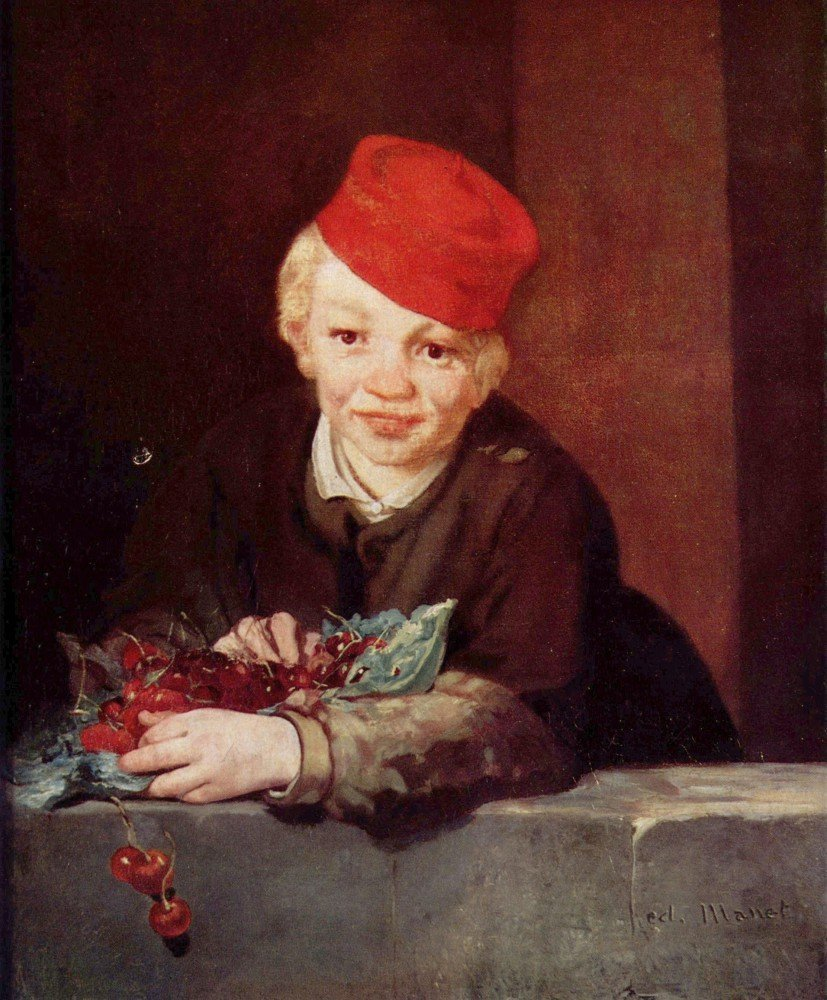 100% Hand Painted Oil on Canvas - Boy with the cherries by Manet - 30x40 Inch