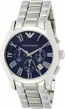 NWT Emporio Armani Classic Men's Watch Silver Stainless Steel Blue Dial AR1635 - £121.82 GBP