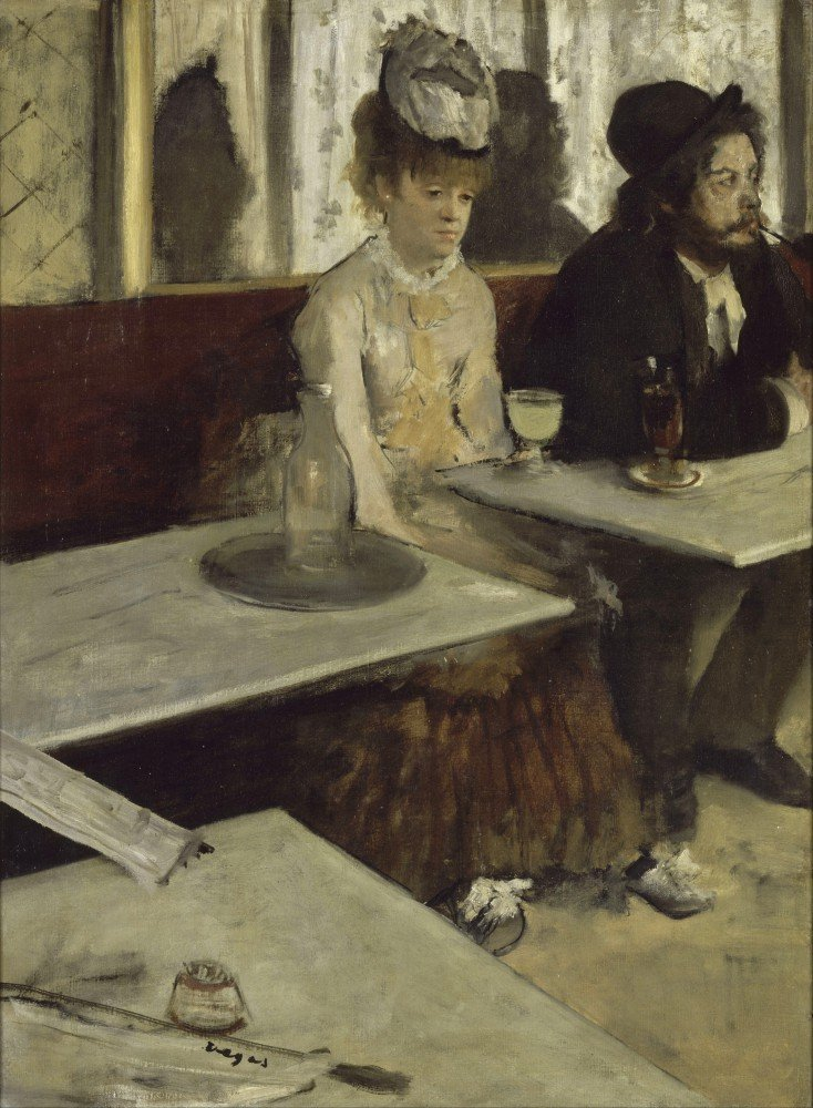 100% Hand Painted Oil on Canvas - Degas - In a cafe - 20x24 Inch