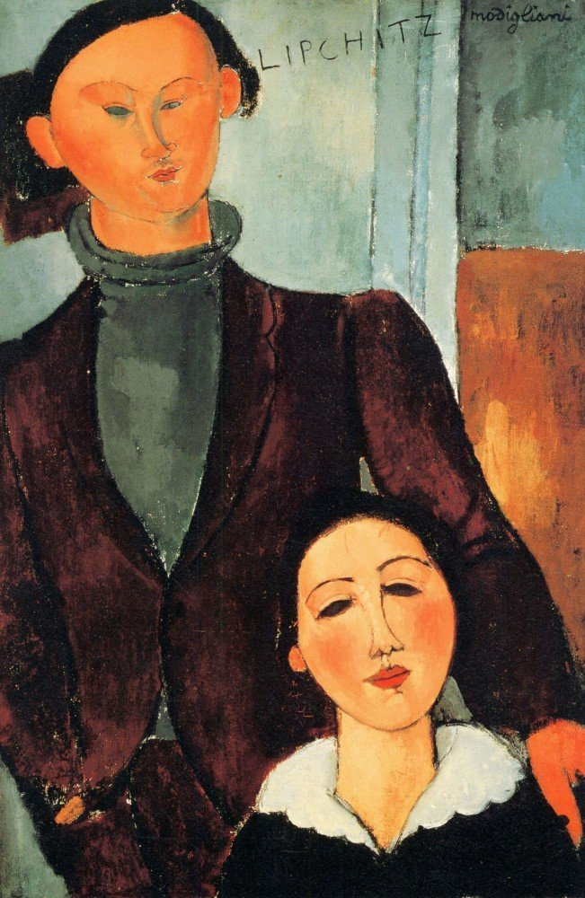 100% Hand Painted Oil on Canvas - Modigliani - Jacques Lipchitz and his woman...