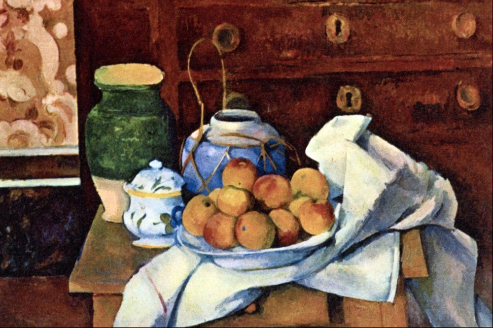 100% Hand Painted Oil on Canvas - Still Life with Chest of Drawers by Cezanne...