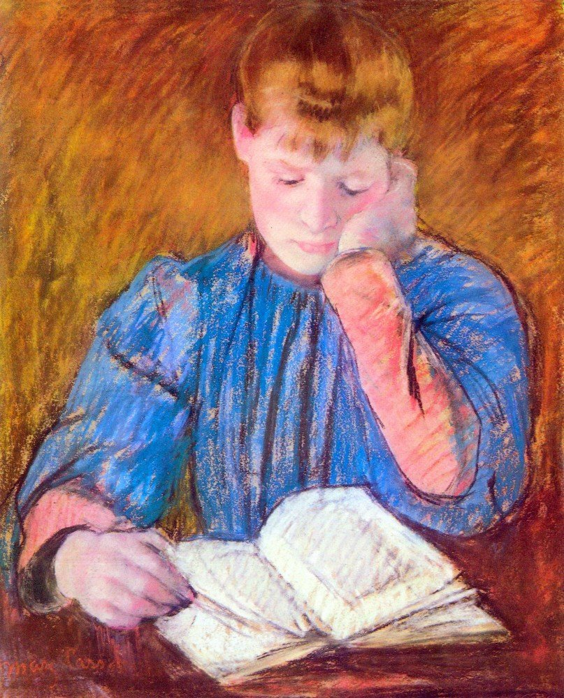100% Hand Painted Oil on Canvas - Thoughtful reader by Cassatt - 20x24 Inch