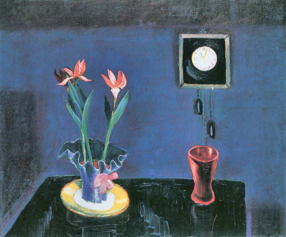100% Hand Painted Oil on Canvas - Still life with clock and tulip pot by Walt...