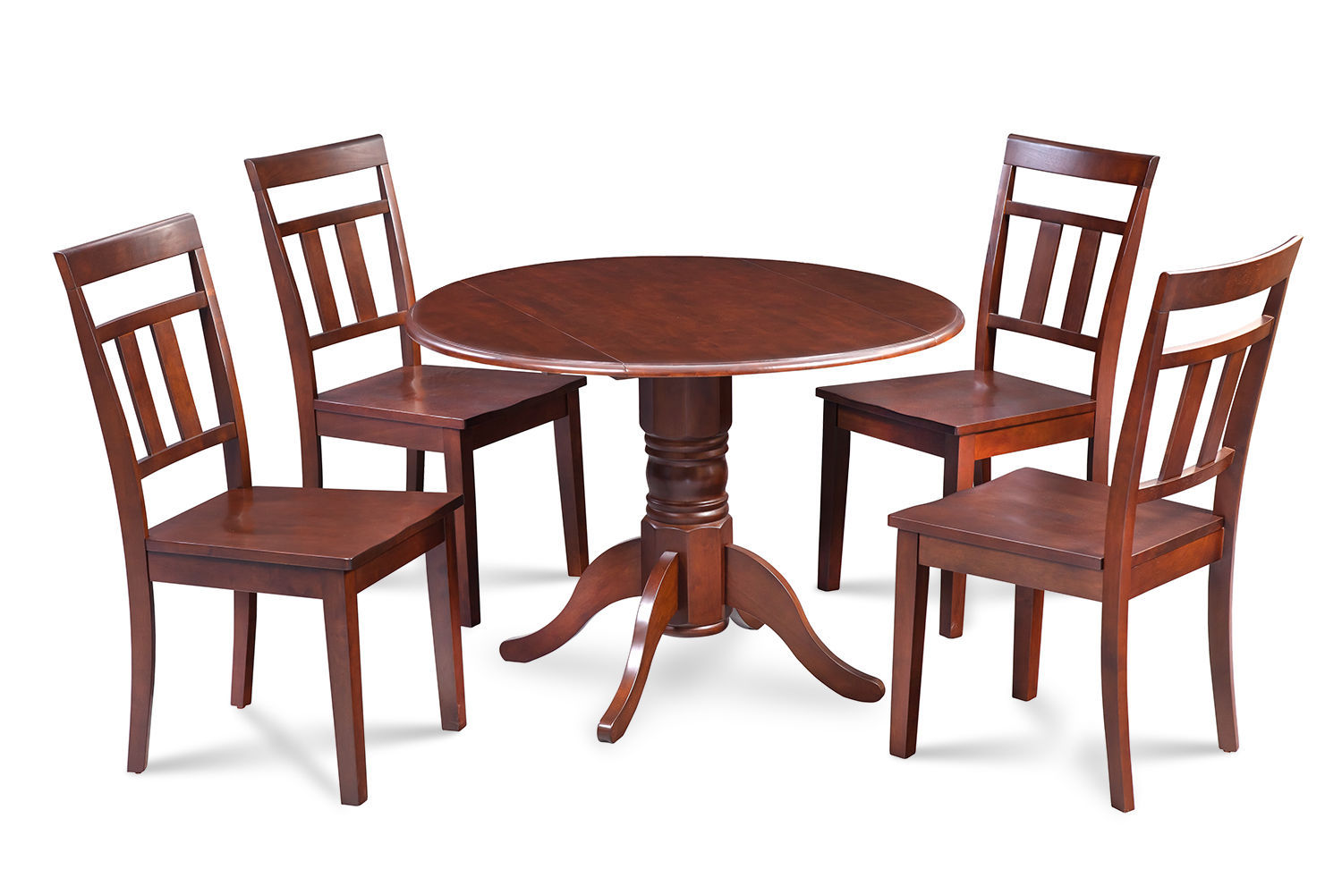 """42"""" BURLINGTON DINETTE DINING TABLE SET WOODEN SEAT CHAIRS IN MAHOGANY"""