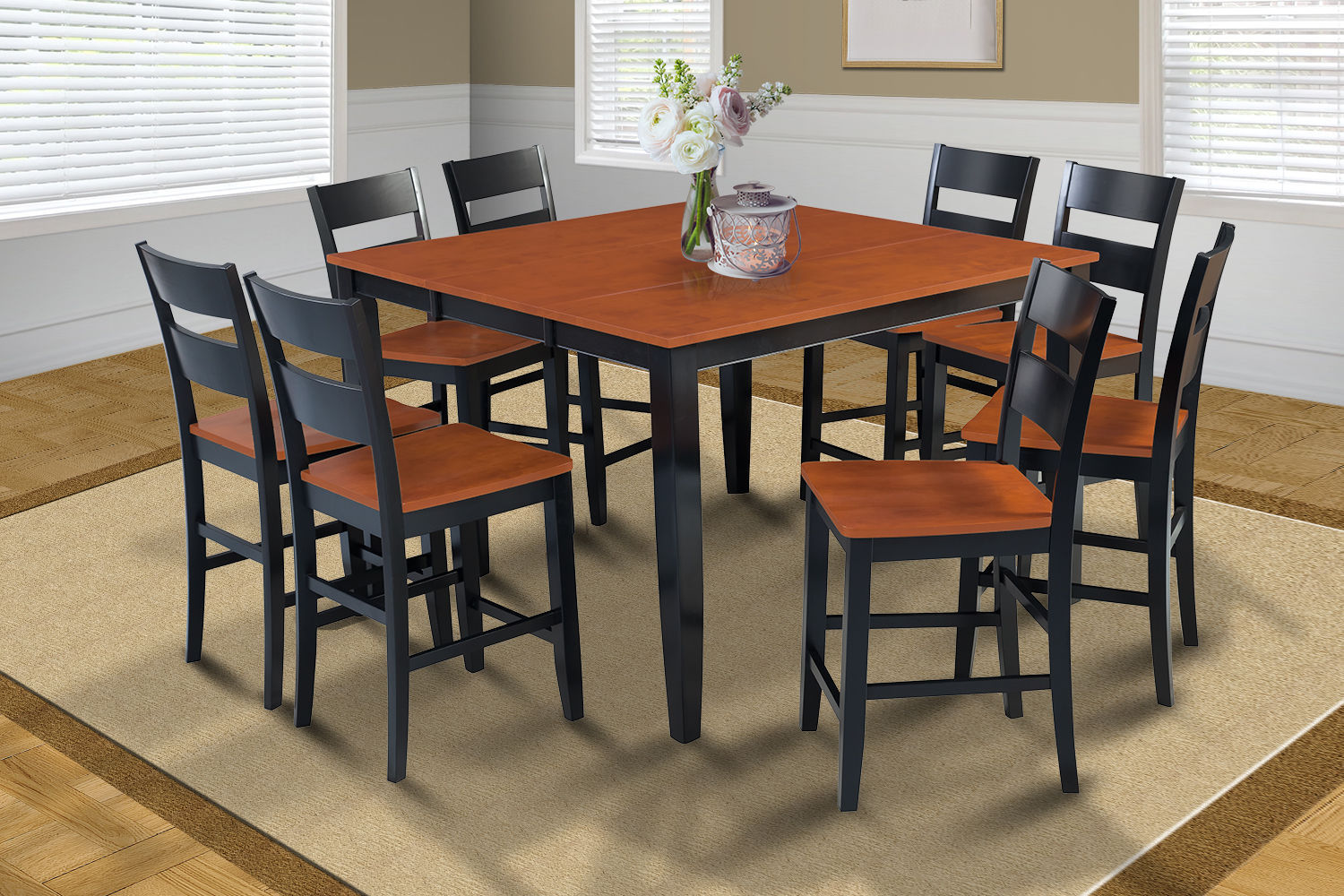 "54"" SQUARE COUNTER HEIGHT TABLE DINING ROOM SET W/. 18"" BUTTERFLY LEAF"