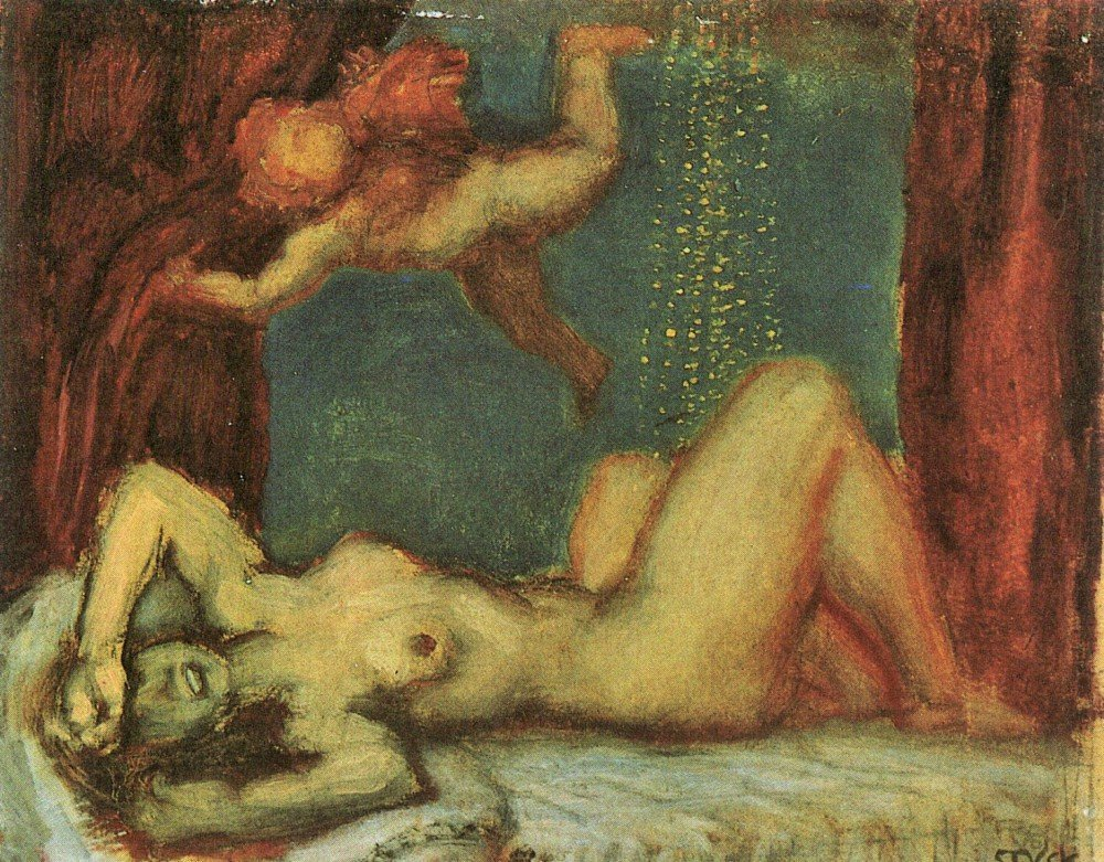 100% Hand Painted Oil on Canvas - Danae by Franz von Stuck - 20x24 Inch