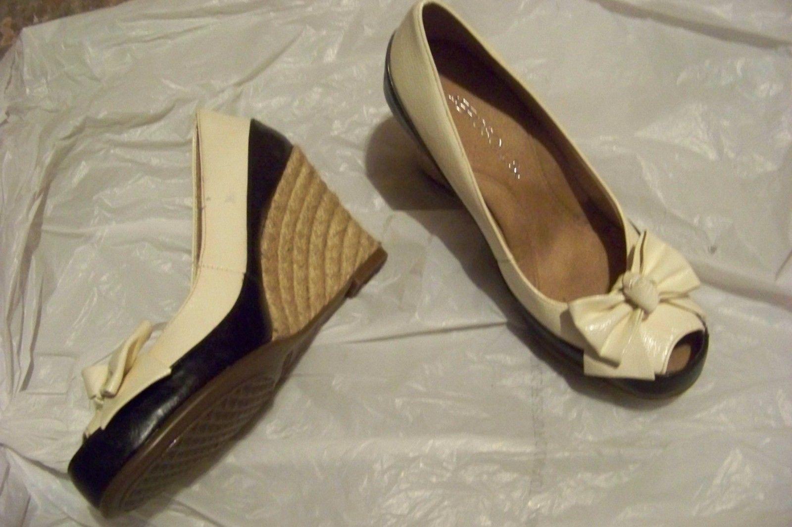 womens aerosoles well wisher black & white peep toe wedge heels shoes size 5 1/2