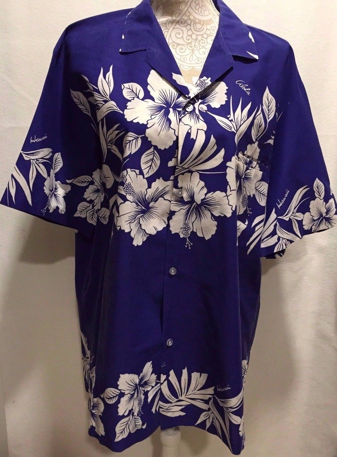 Creations Hawaii Large Hawaiian Aloha Shirt Floral Blue White MADE IN HAWAII XL